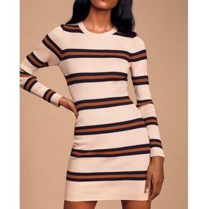 Lulus Blush Pink Striped Ribbed Bodycon Dress